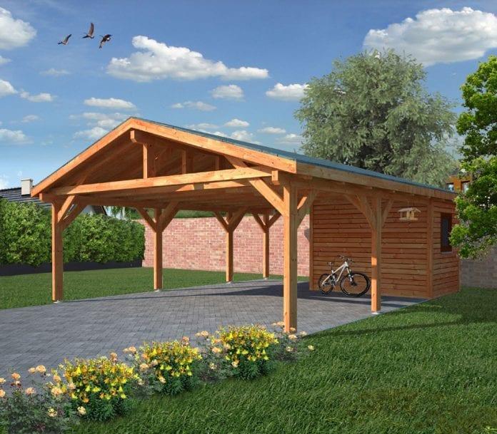 drevena-garaz-zahrada-stromy-kvety-travnik-architektura-dreveny-altan-bicykel