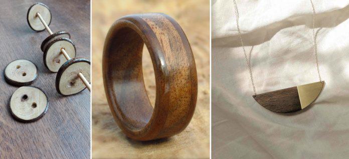 gombíky, prsteň a prívesok z orechového dreva